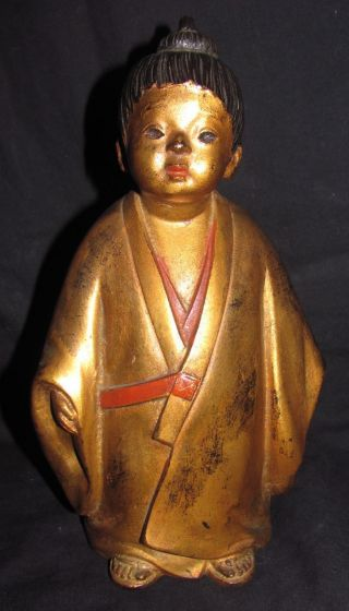 Vintage Japanese Gilt Metal Figure Of A Child,  Signed photo