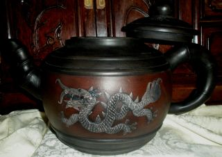 Rare Huge Hand Made Yixing Clay Teapot (宜興紫砂) 17