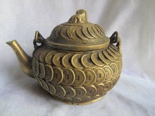 Chinese Teapot Bronze Carven Coins Lion Lid Heavy Exquisite 05 photo