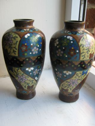 Pair Chinese Cloisonne Hexagonal Shape Baluster Vases Circa 19th Century photo