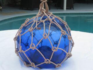 Antique Japanese Glass Fish Net Floats - Dark Deep Blue - Medium photo