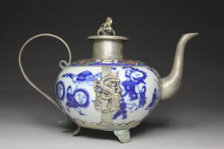 Chinese Handwork Painting Hero Dragon Phoenix Old Porcelain Tea Pot photo
