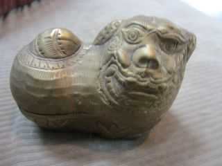 Vintage Hand Hammered Brass Foo Dog Box photo