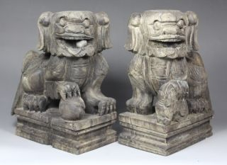 19 Century Chinese Old Wood Handwork Carving A Pair Of Large Kirin Statue photo
