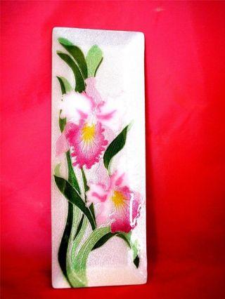 Vintage Japanese Cloisonne Floral Orchids Tray photo