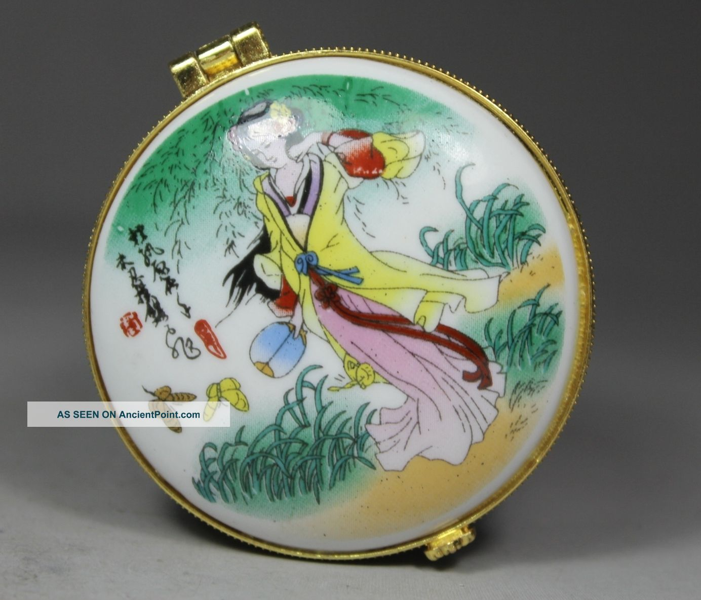 Chinese Handwork Porcelain Butterfly Belle Old Jewel Case Box Boxes photo