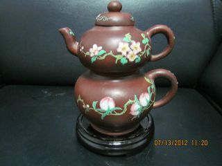 Exquisite Chinese Boccaro Teapot Calabash Style Flowers And Peaches Carved photo