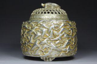 Chinese Old Copper Handwork Hammered Crane Turtle God Incense Burner photo