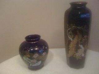 2 Sets Cobalt Blue Japanese Hand Painted Peacock Porcelain Vase photo