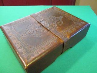 Antique Japanese Leather Document / Letter (fumibako) Box / Case photo
