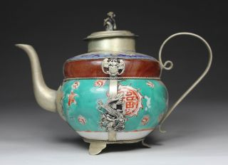 Chinese Handwork Painting Dragon Flower Old Porcelain Tea Pot photo