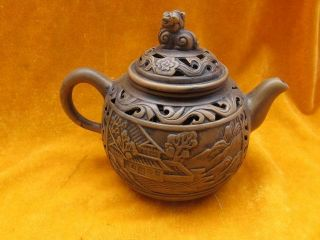 Chinese Zisha Teapot Hollow - Out Brown Carven Village 47 photo