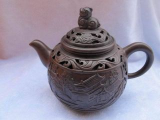 Chinese Zisha Teapot Carven Village Life Building 49 photo