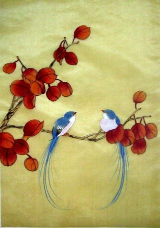 Japanese Hand Painted Silk Painting Flower & Bird @815 photo