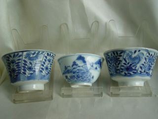 18th Three B/w Chinese Export Porcelain Kangxi Cups photo