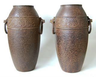 Rare Pair Of Japanese Cast Iron Vases Taisho Period 1920 Marked Nambu photo
