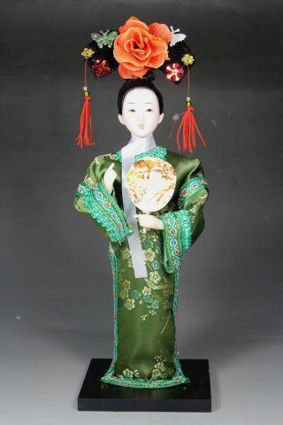 Chinese Old Cloth Wonderful Handwork Belle Silk Figurine Statue Decoration photo