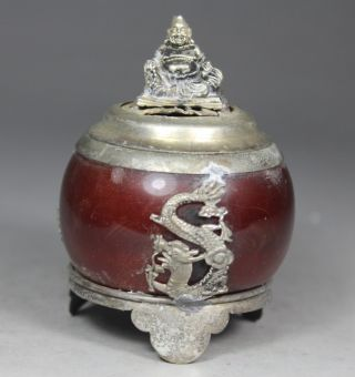 Chinese Handwork Jade Dragon Old Incense Burner photo