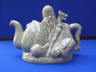 Fine Antique Chinese Celadon Dragon & Immortal Porcelain Tea Pot Signed photo