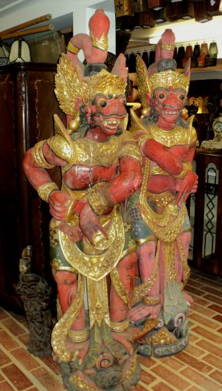 Antique Asian Carved Statues Figure Pair Lion Foo Dogs Temple Guards photo