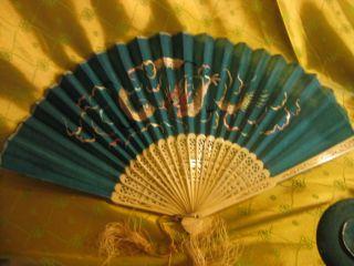 Antique Phoenix Asian Chinese Silkwork On Carved Bone Fan Free Us Ship/trk photo