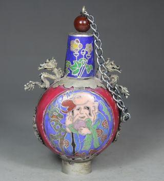 Chinese Old Jade Cloisonne Handwork Painting Elder Dragon Snuff Bottle photo