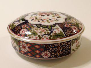 Old Imari Porcelain Round Box With Lid Covered Trinket Bowl Japan China 6.  5