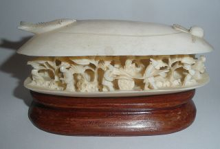 Chinese Faux Ivory Clam Shell Carved With Figures photo