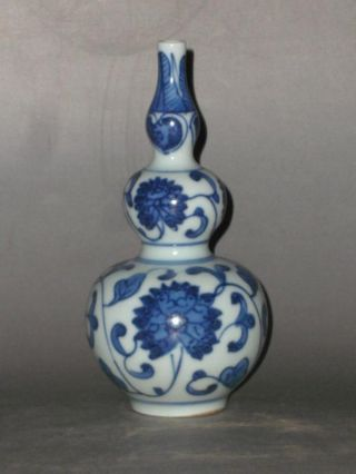 Rare Chinese Blue&white Porcelain Lotus Scroll Vase photo