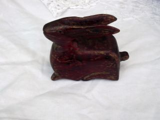 1920s Chinese Red Lacquer And Gilt Wood Hare photo