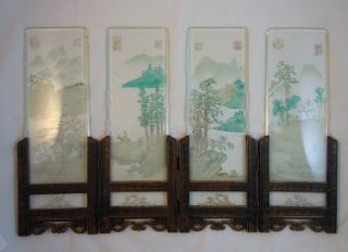 Vintage Japanese Hand Painted Glass Desktop Screen ~ See Photos ~ Antique ? photo