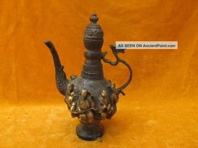 Chinese Bronze Wine Pot Dragon Handle Carven The Eight Immortals Exquisite Teapots photo