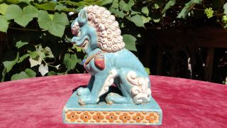 Chinese Foo Dog Lion Polychrome Statue ~ 9 3/4