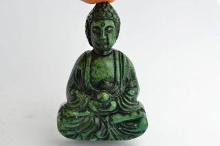 Asian Old Collectibles Decorated Wonderful Handwork Jade Buddha Exorcism Statue photo