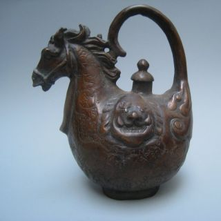 19in.  C A Beautifully Carved Horsehead Emperor Qianlong Flag Bronze Jug Nr photo