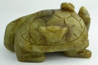 - China Collectibles Old Hand Jade Carving Longevity Tortoise Statue photo