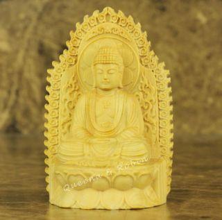 Chinese Wood Carved Buddha Shakyamuni Buddha Statue Sculpture Box Wood Amulet photo