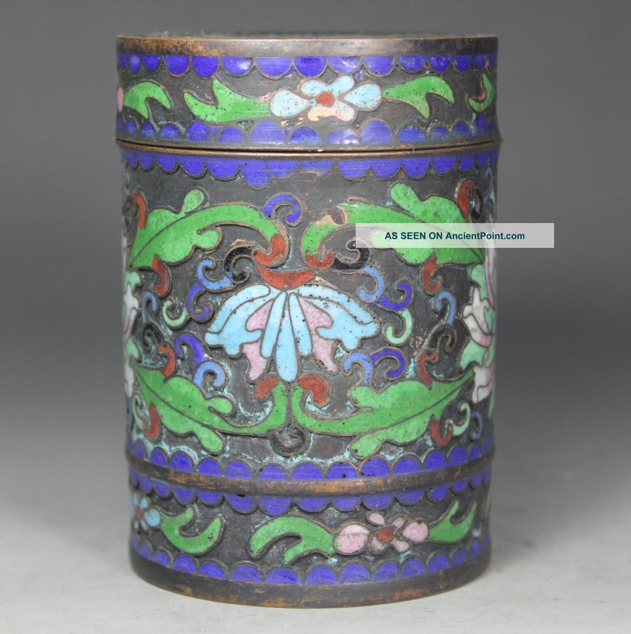 Chinese Handwork Painting Flower Old Cloisonne Box Boxes photo
