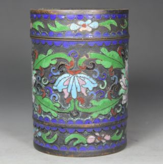 Chinese Handwork Painting Flower Old Cloisonne Box photo
