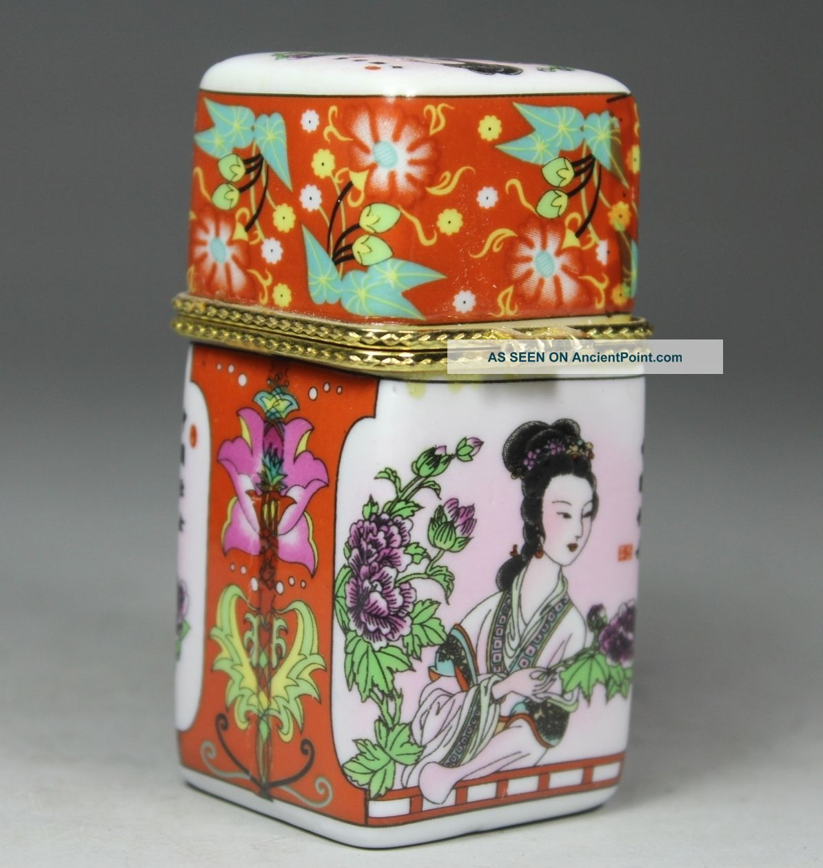 Chinese Handwork Porcelain Flower Belle Old Toothpick Box Boxes photo