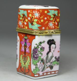 Chinese Handwork Porcelain Flower Belle Old Toothpick Box photo