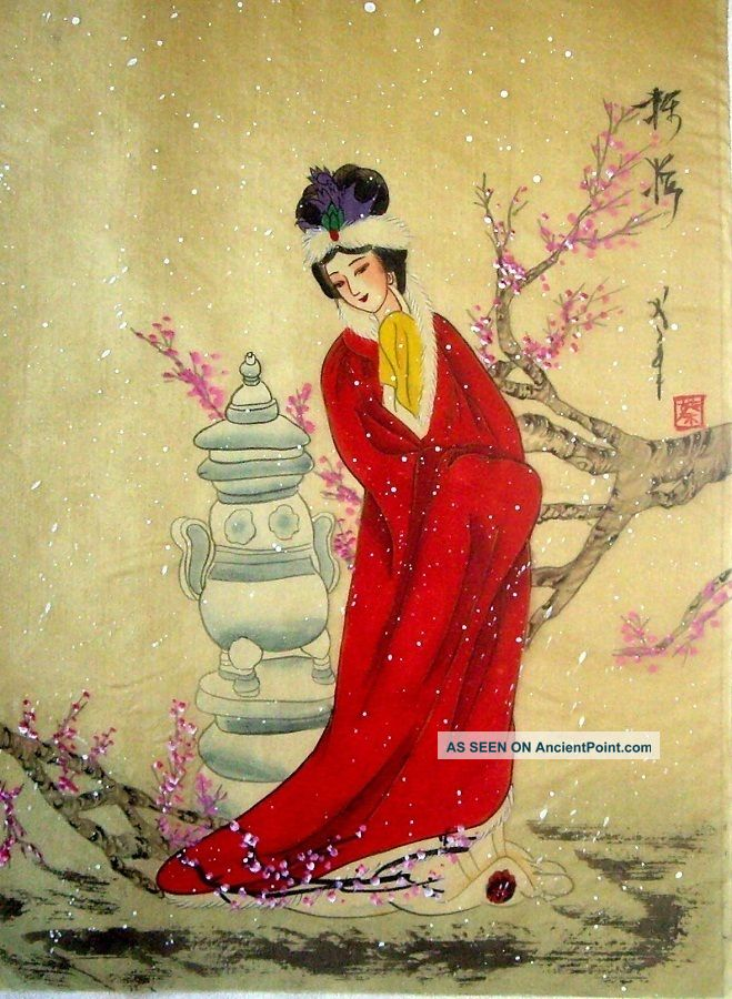 Japanese Silk Calligraphy/ Painting Beauty 747 Paintings & Scrolls photo