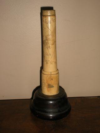 Antique Japanese Bone Bud Vase Carved Wood Base photo