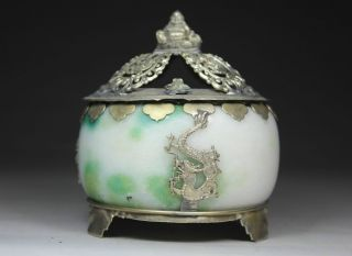 Chinese Old Jade Handwork Dragon Incense Burner Buddha Lid photo