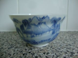 Antique Chinese Blue & White Porcelain Egg Shell Tea Bowl photo