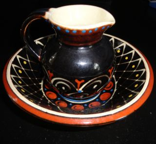 Vintage Asian Pottery Bowl And Pitcher Unknown Marking photo