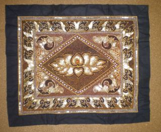 Asian Hand Made Wall Embroidered Tapestry Diamond And Flowers Design photo