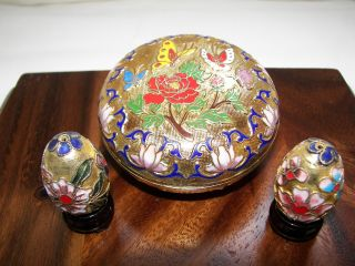 Chinese Cloisone Trinket Box And Two Cloisonne Eggs With Stands photo