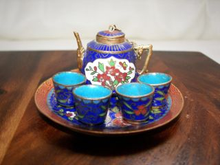 Minature Cloisonne Coffee Set And Tray photo
