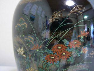 A Japanese High Grade Vase Kikudecoration On The Black Ground photo